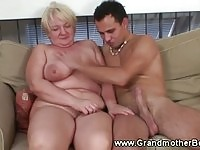 Busty old lady screwed by a young dude